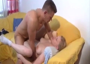 Pudgy blonde gets fucked by her jacked brother