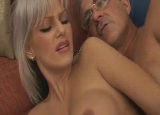 Blond-haired daughter takes dad's big dick