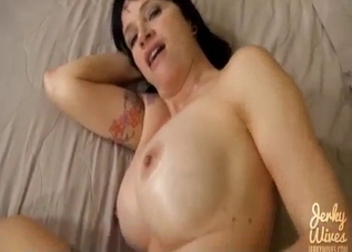 Close-up incest blowjob with a banging brunette