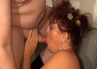 Tanned mommy fucking her lesbian-looking son