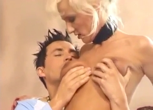 Collared blonde servicing her hung relative