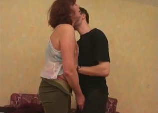 Redhead seducing her seductive son
