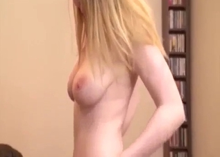 Skirt-wearing blonde fucks her happy brother