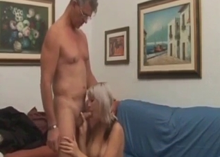 Blonde with multicolored hair fucking her father