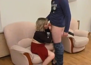 Red skirt mommy rides her nerdy son's big dick