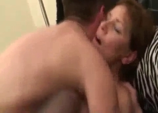 Horny mommy fucked while half-naked
