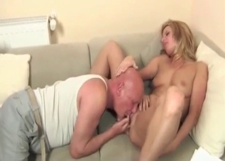 Blonde worships her dad's gross old man feet