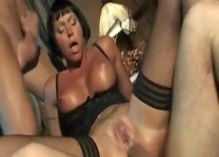 Tanned and short-haired MILF destroyed by her sons