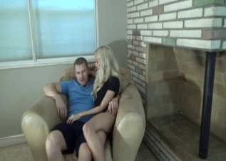 Blonde in black seduced by her bear-ish dad