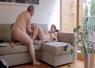 Busty brunette enjoys her dad's skillful tongue