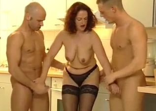 Dress-wearing mommy fucking her hung sons
