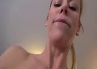 Luxurious babe sucking son's cock in POV