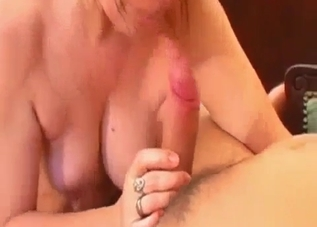 Saggy tits mommy sucking son's big cock