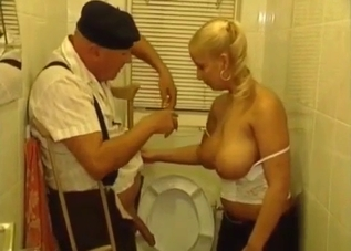 Busty blonde jerking her senile dad's cock